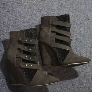 Just fab black faux suede wedge size 8